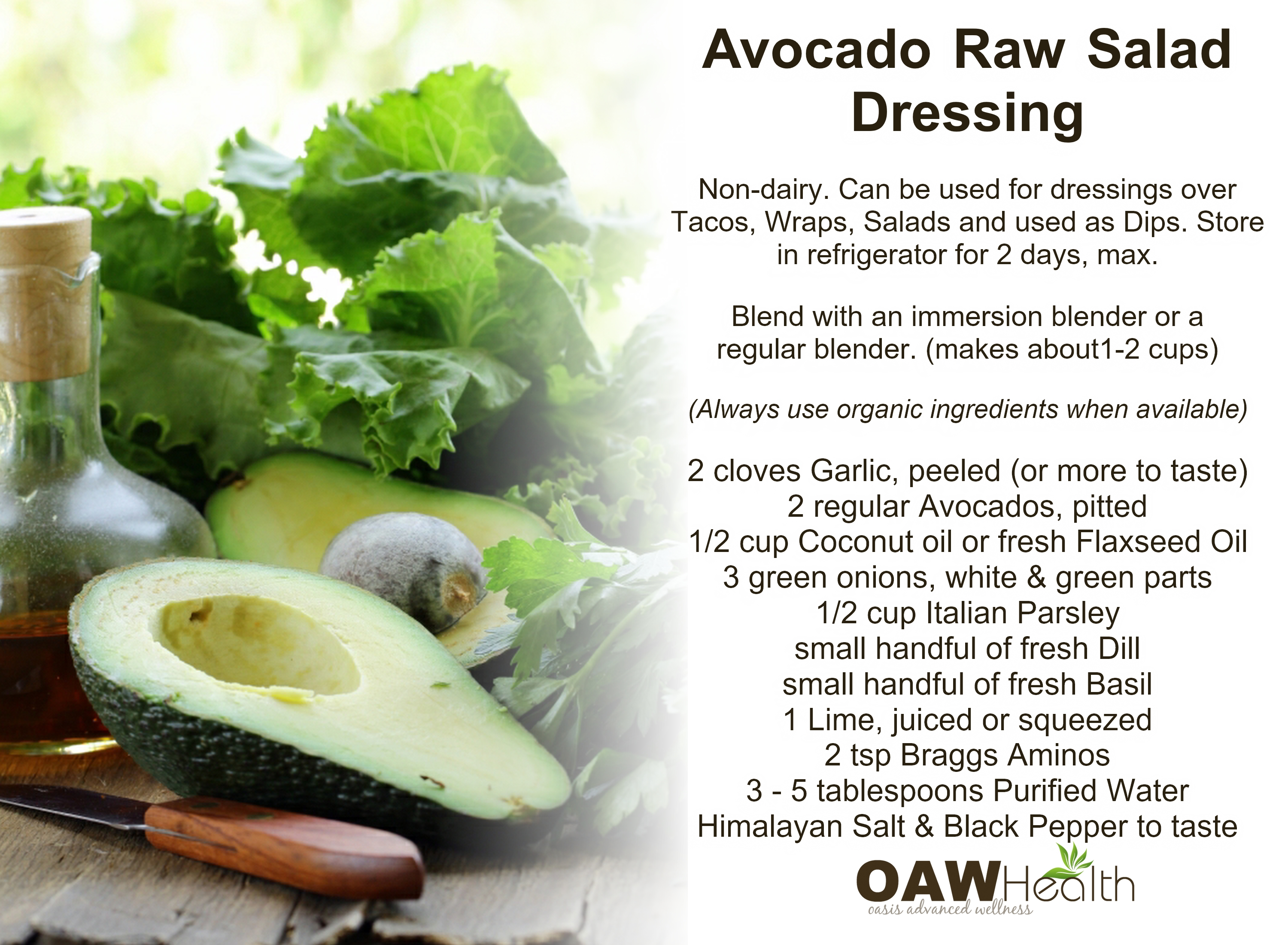 Avocado Raw Salad Dressing Recipe