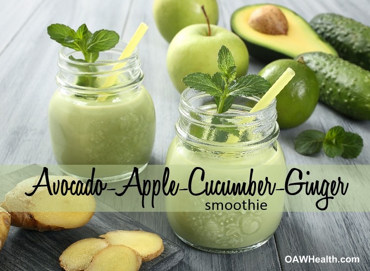 Avocado Smoothie with Apple-Cucumber-Ginger-Lime