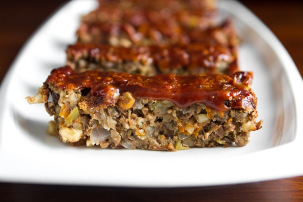 Glazed Lentil Walnut Apple Loaf
