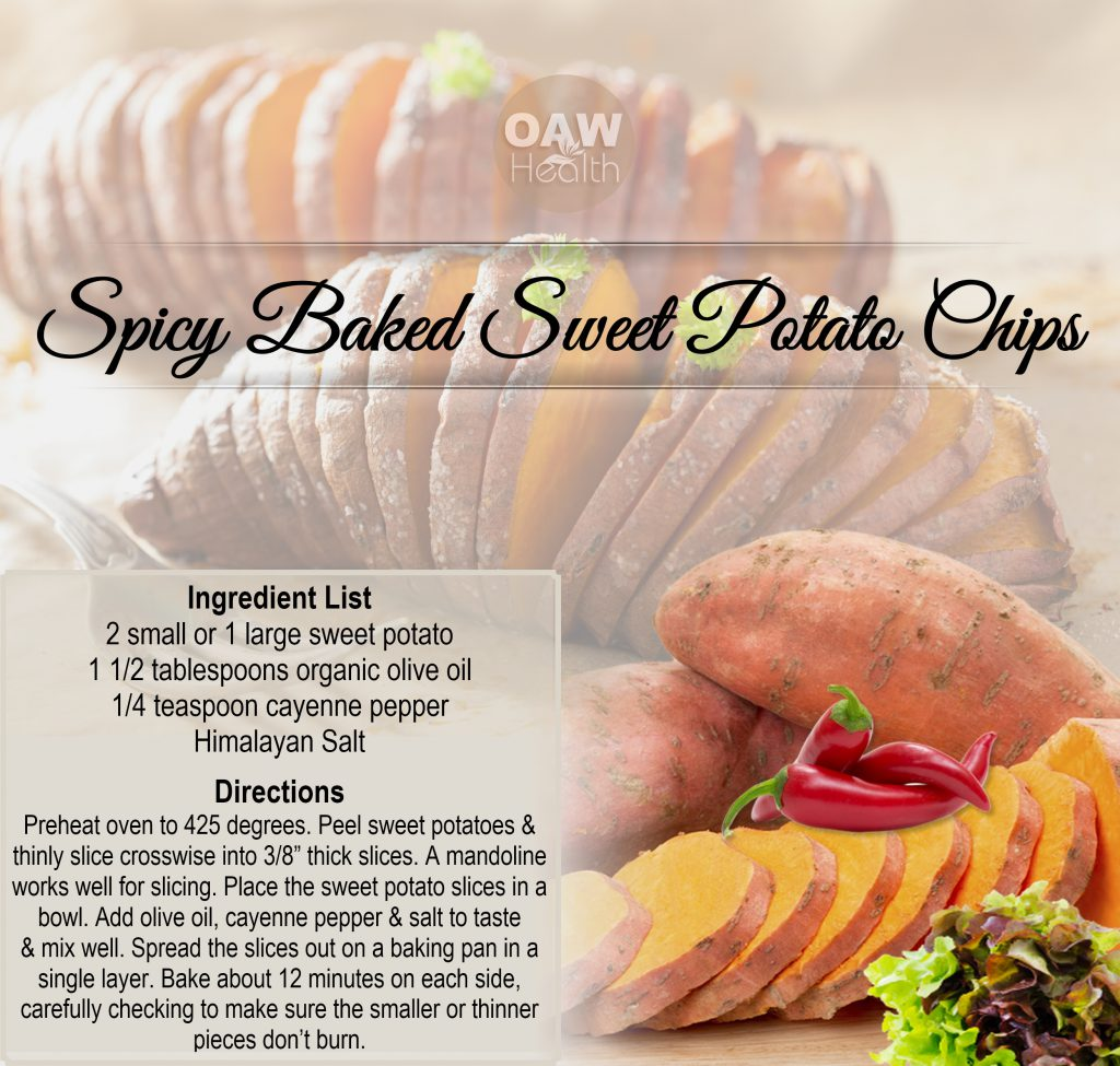 spicy baked sweet potato chips - oawhealth