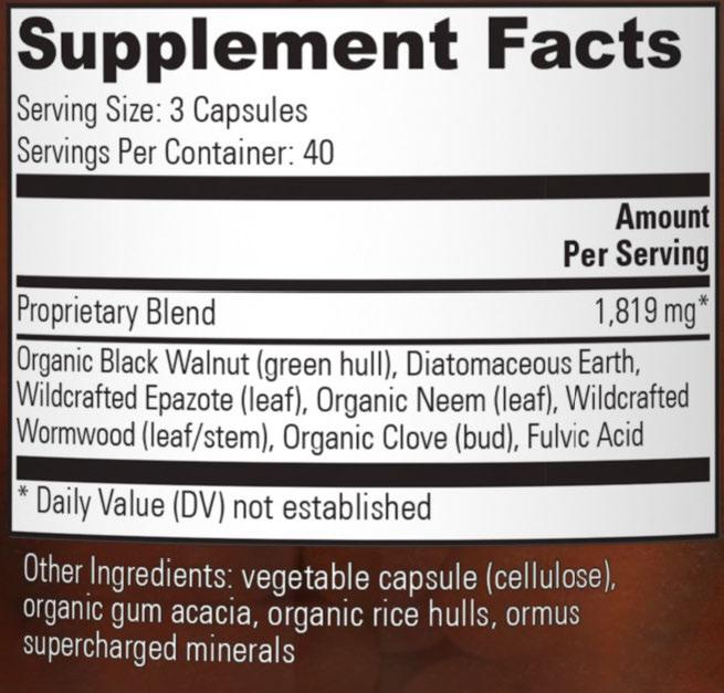 paratrex ingredient label 2021