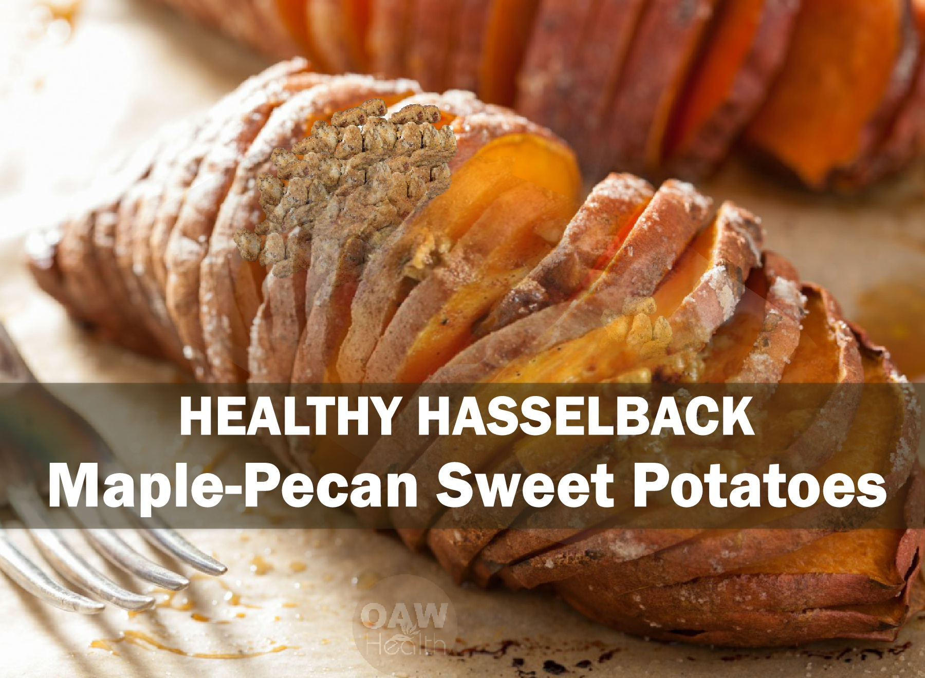 Healthy Hasselback Sweet Potatoes – Maple-Pecan