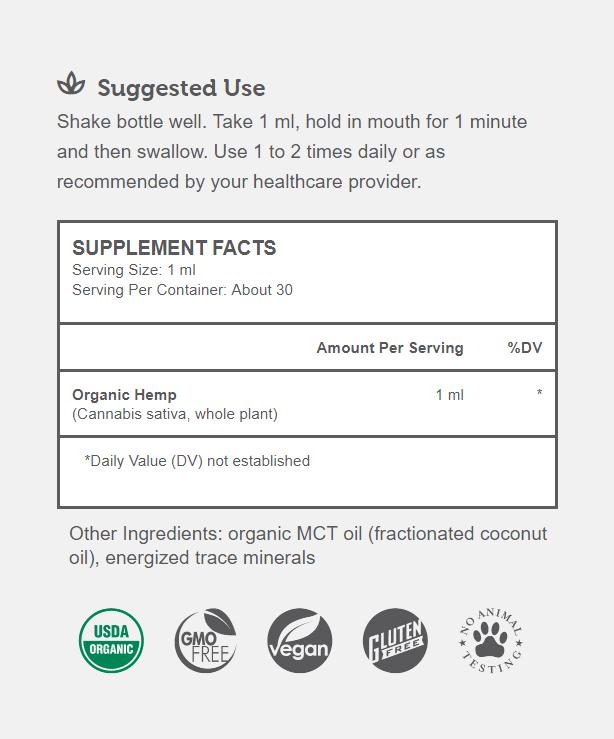 Organic Hemp Extract Supplement Facts